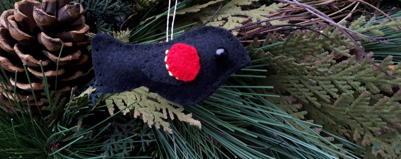 Limited Edition Red Winged Blackbird Holiday Ornament